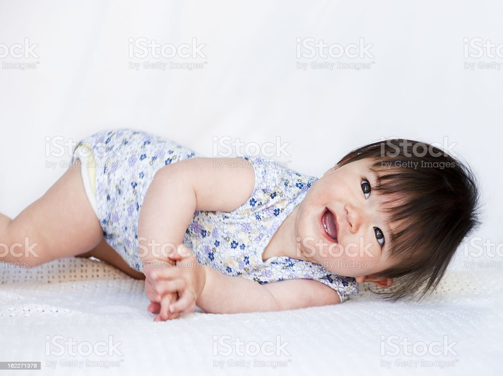 Happy Asian baby girl stock photo