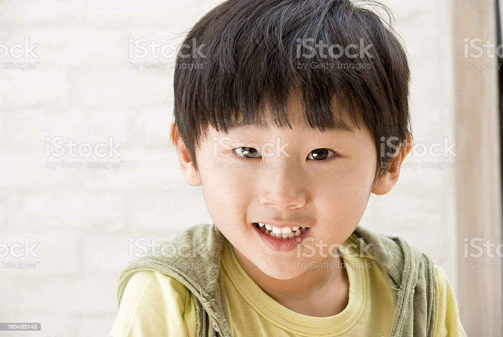 Happy Asian boy portrait stock photo