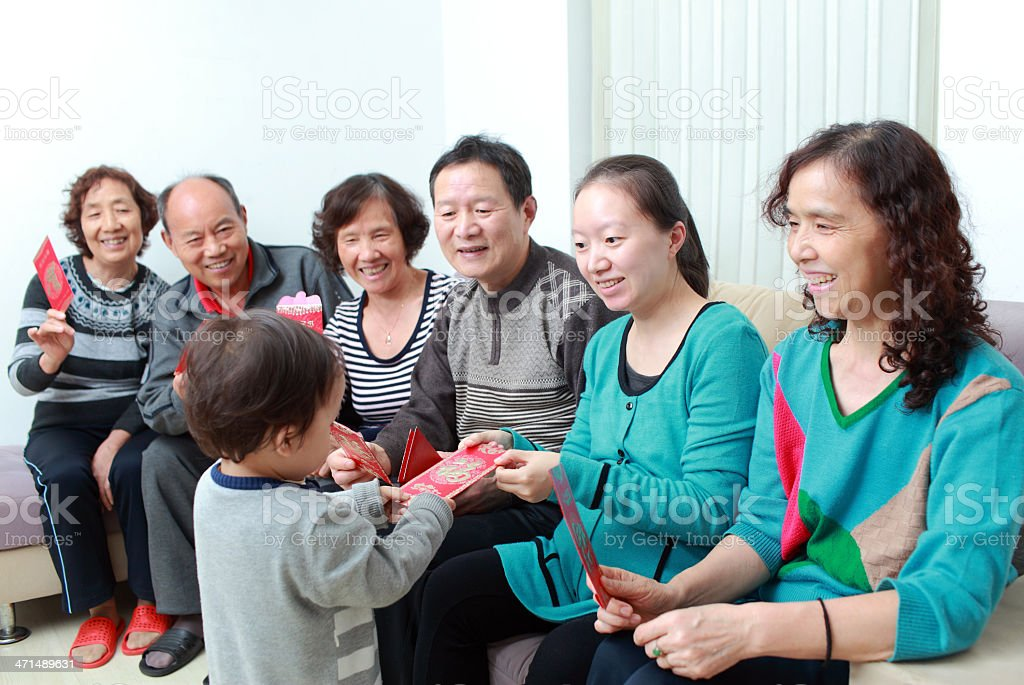 Happy Asian family, in the new year royalty-free stock photo