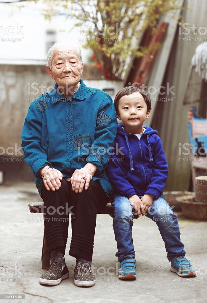 Happy Asian family stock photo