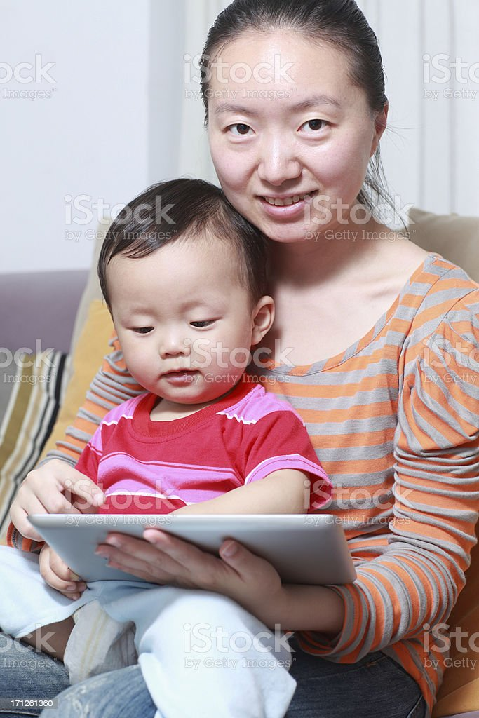 Happy Asian mother and son royalty-free stock photo