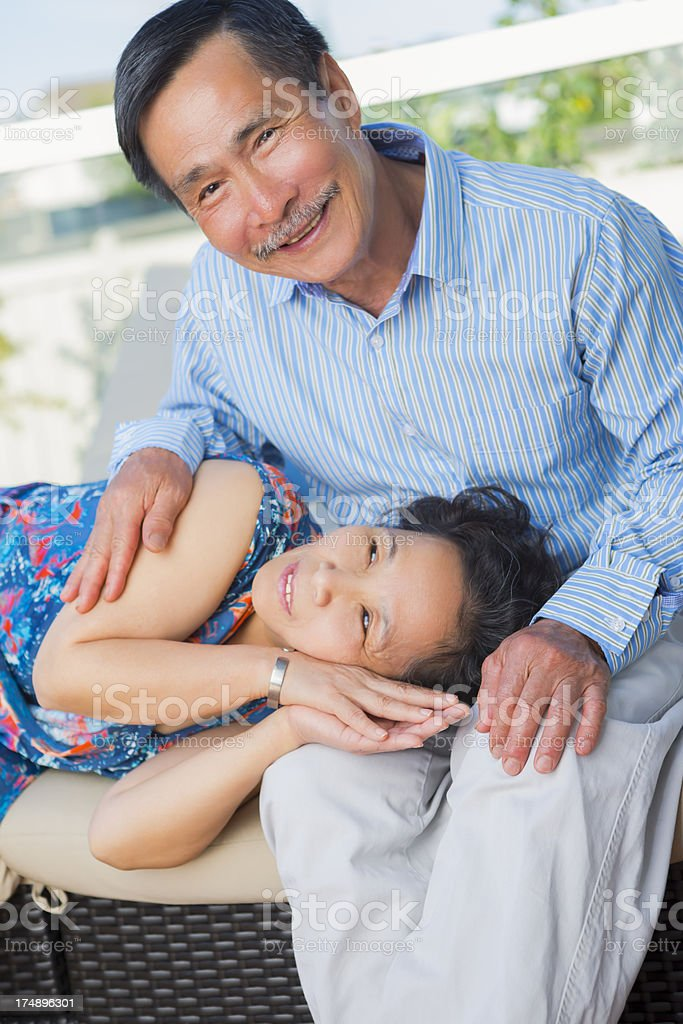 Happy Asian senior couple portrait royalty-free stock photo