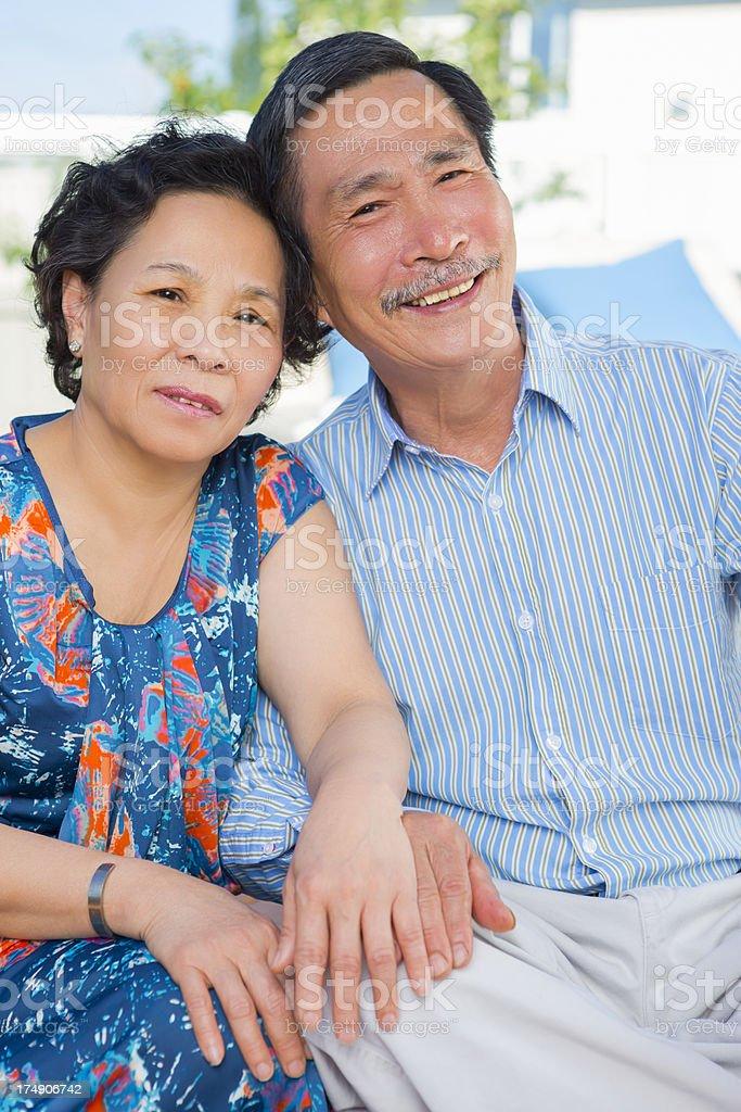 Happy Asian senior couple portrait royalty-free stock photo
