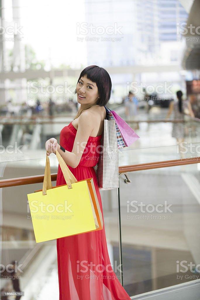 Happy Asian Shopper royalty-free stock photo