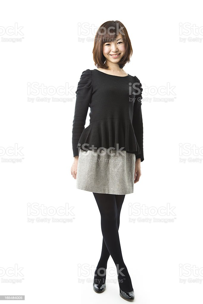 Happy Asian Woman Full Body Walking royalty-free stock photo