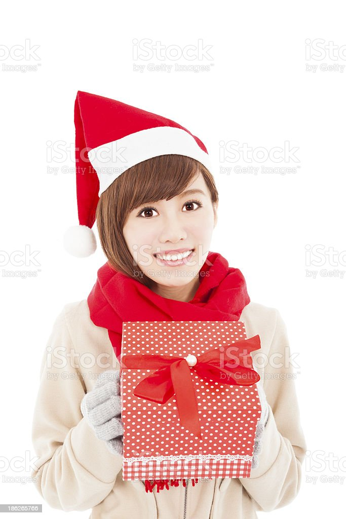 happy asian young woman with christmas gift box royalty-free stock photo