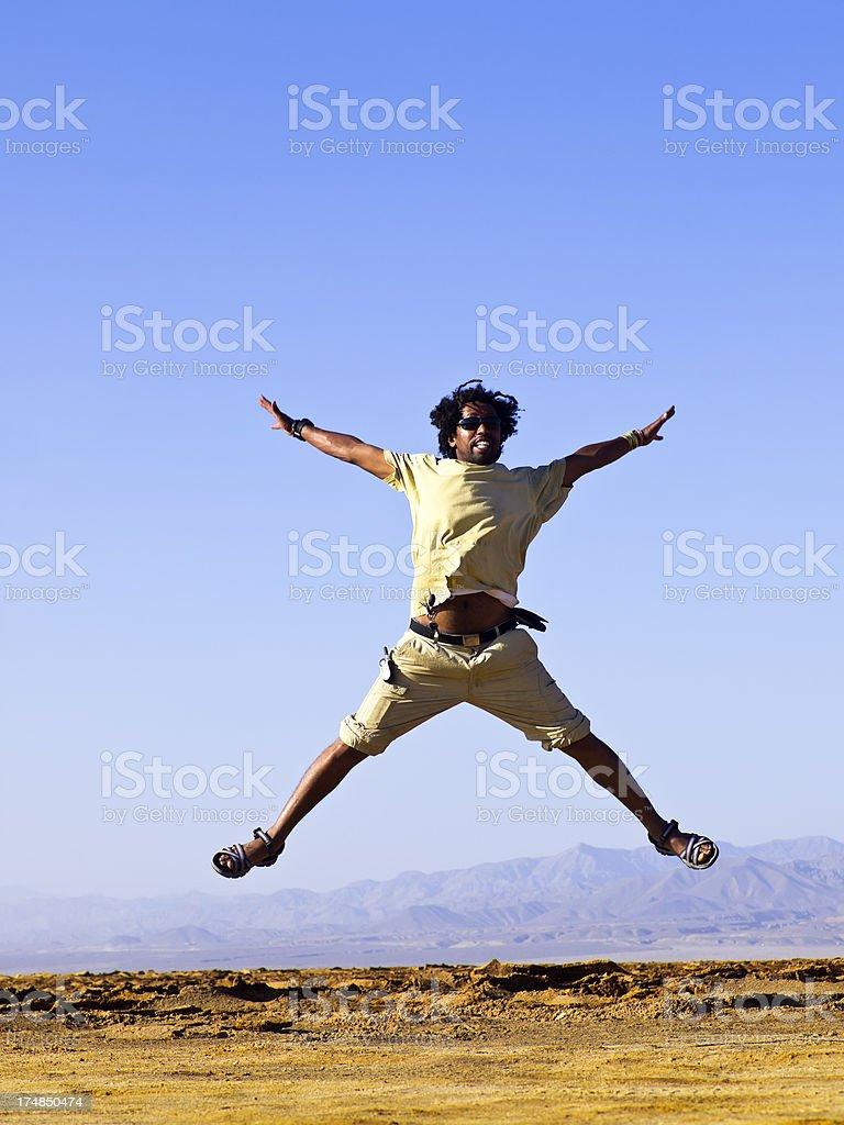 Happy at Dallol stock photo