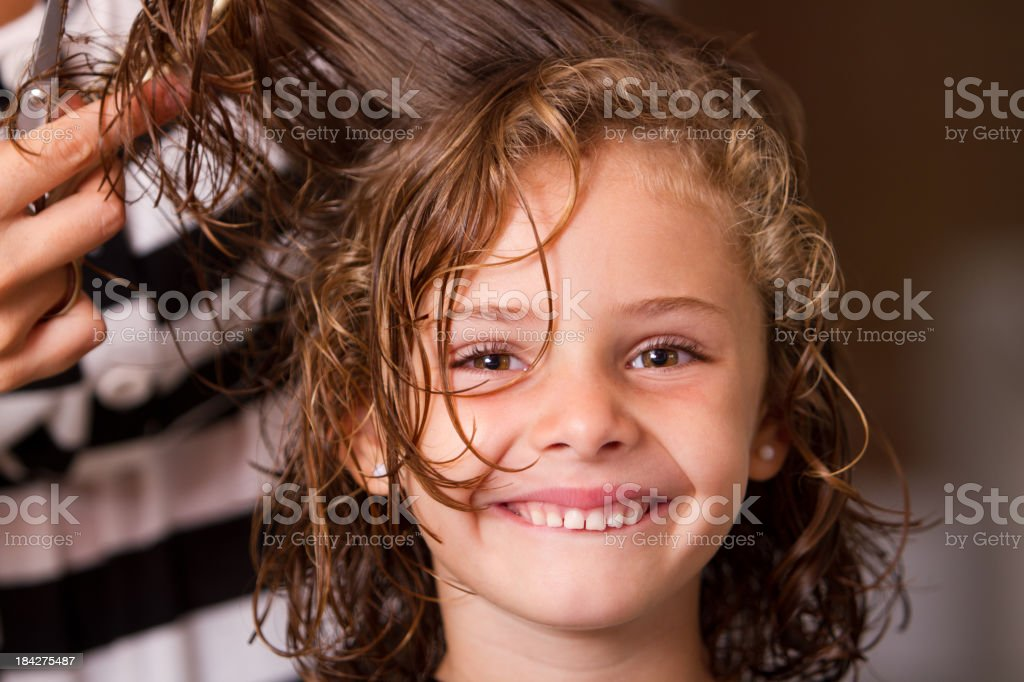 Happy at hair salon royalty-free stock photo