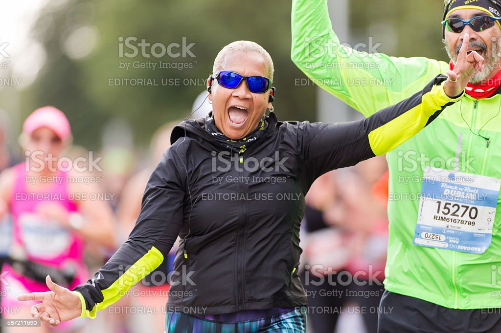 Happy athlete stock photo