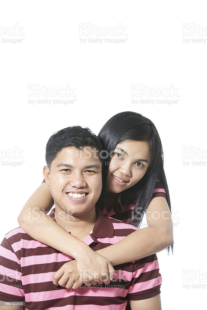 happy attractive asian couple isolated on white background royalty-free stock photo