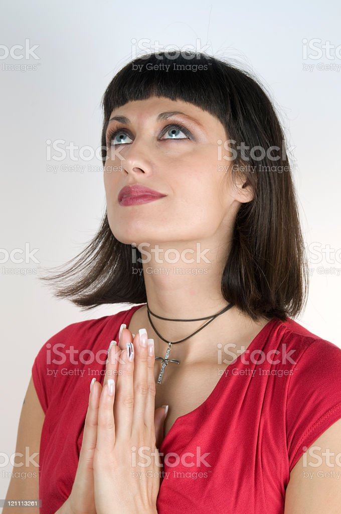 Happy Attractive Woman Saying Thanks royalty-free stock photo