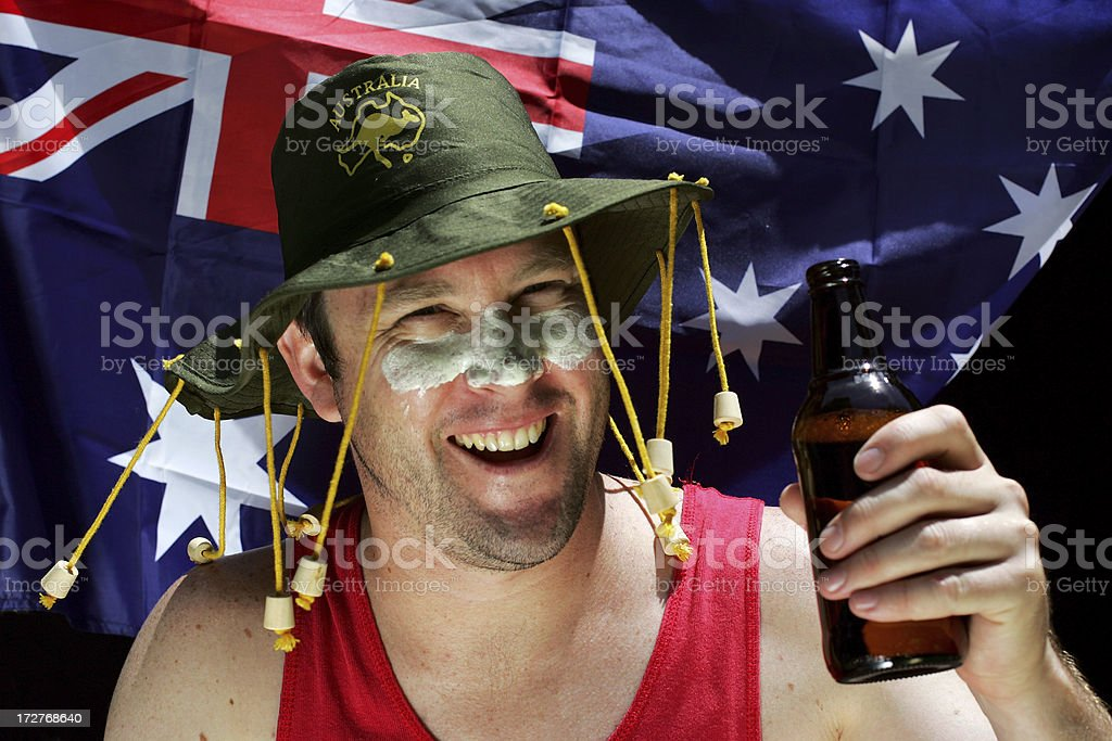 Happy Aussie with a Beer stock photo