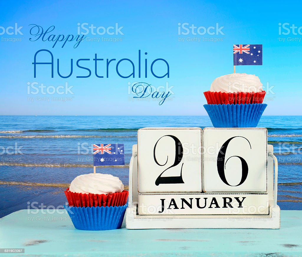 Happy Australia Day, January 26, theme white wood vintage calendar stock photo