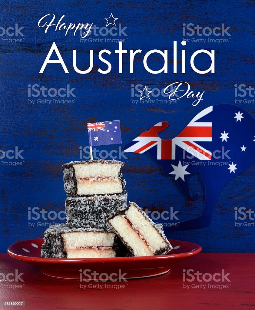 Happy Australia Day lamingtons stock photo