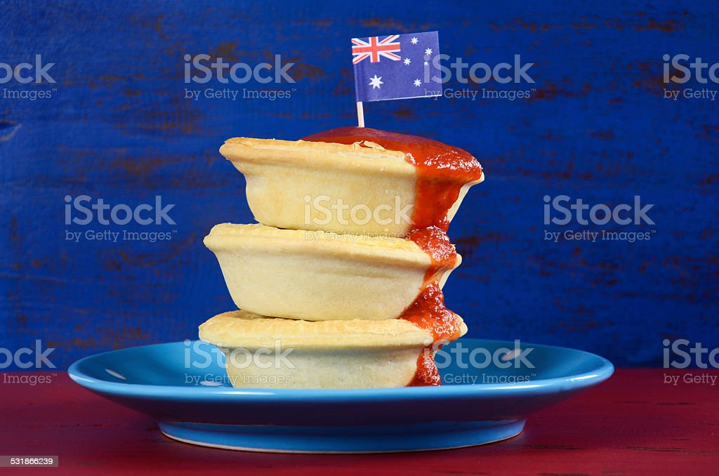 Happy Australia Day meat pies and tomato sauce stock photo