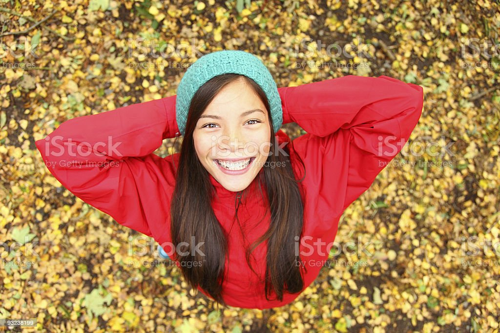 Happy autumn girl royalty-free stock photo