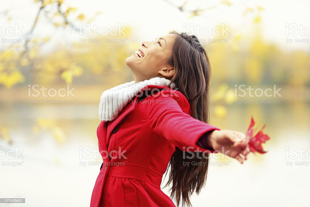 Happy autumn woman blissful royalty-free stock photo