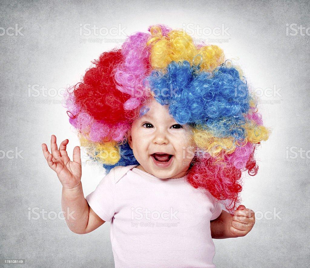 Happy baby clown stock photo