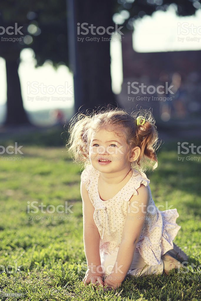 happy baby girl in the nature royalty-free stock photo