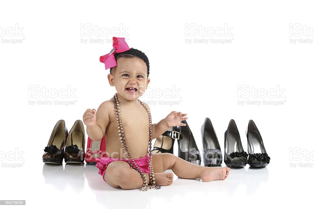 Happy Baby Girl with High Heels royalty-free stock photo