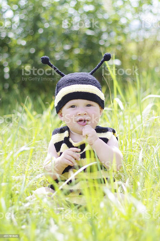 happy baby in bee costume tastes grass on the meadow stock photo