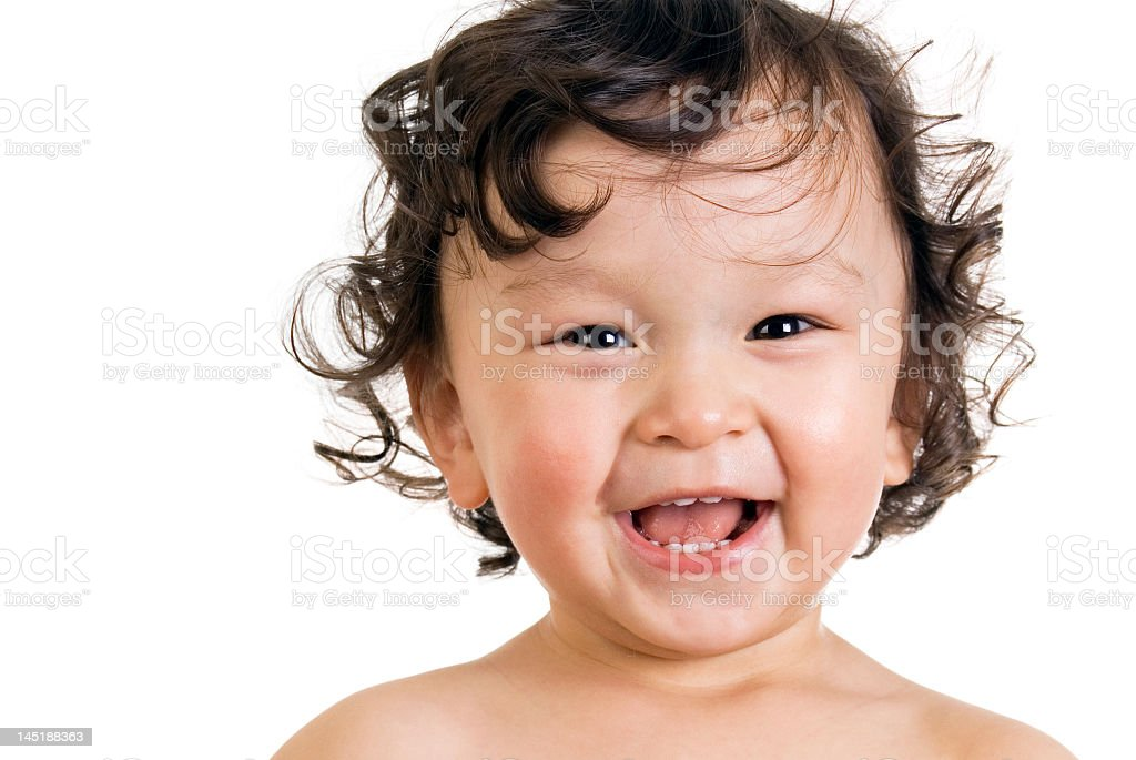 Happy baby smiling at camera, with white background  royalty-free stock photo