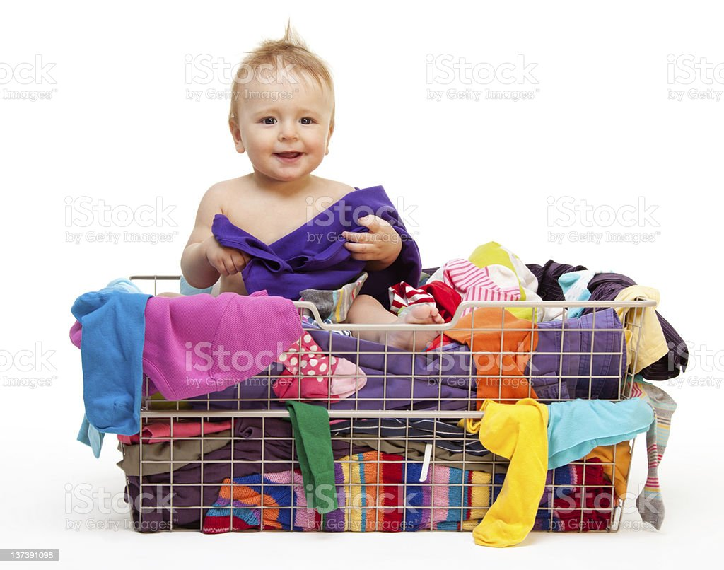 Happy baby with clothes royalty-free stock photo