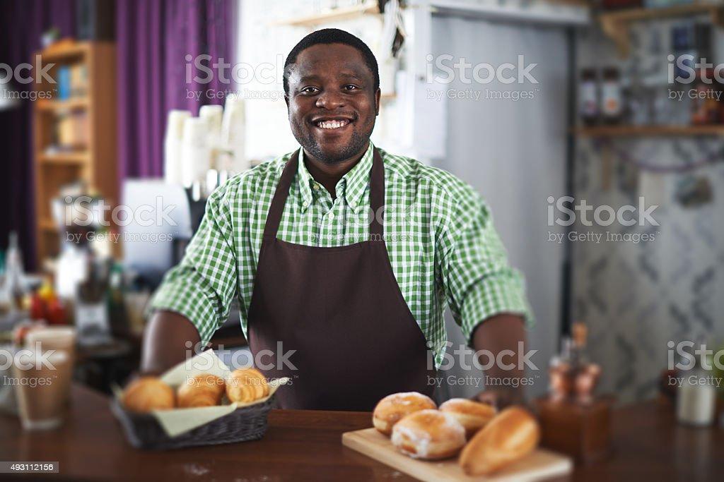 Happy baker stock photo