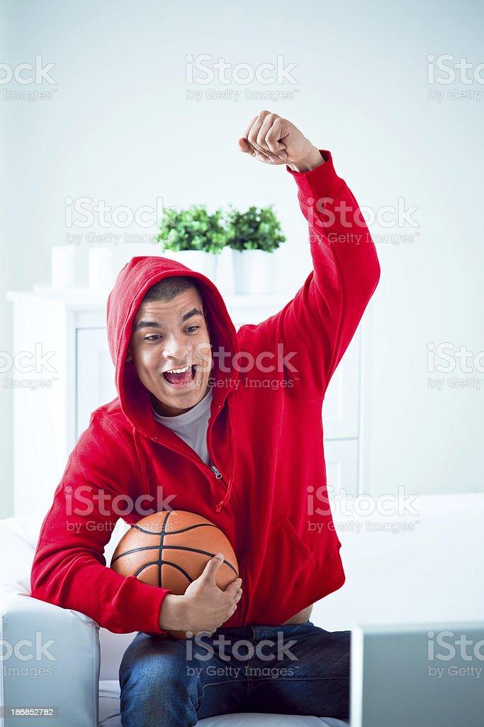 Happy Basketball Fan royalty-free stock photo