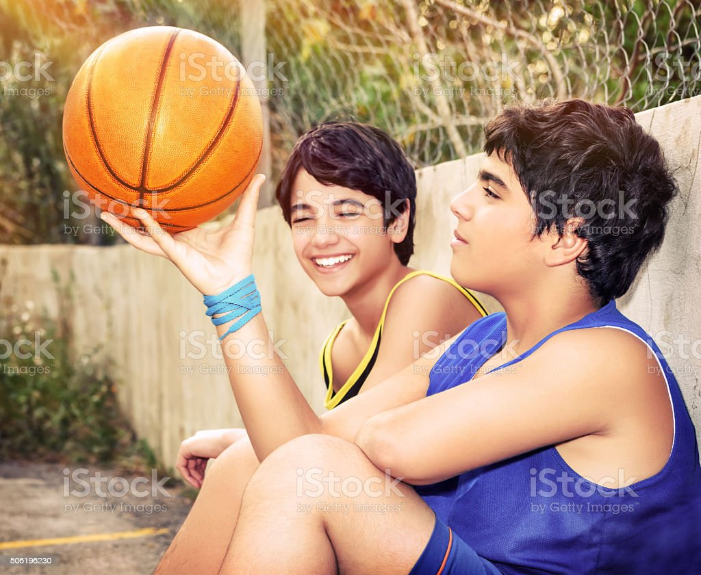 Happy basketball players stock photo