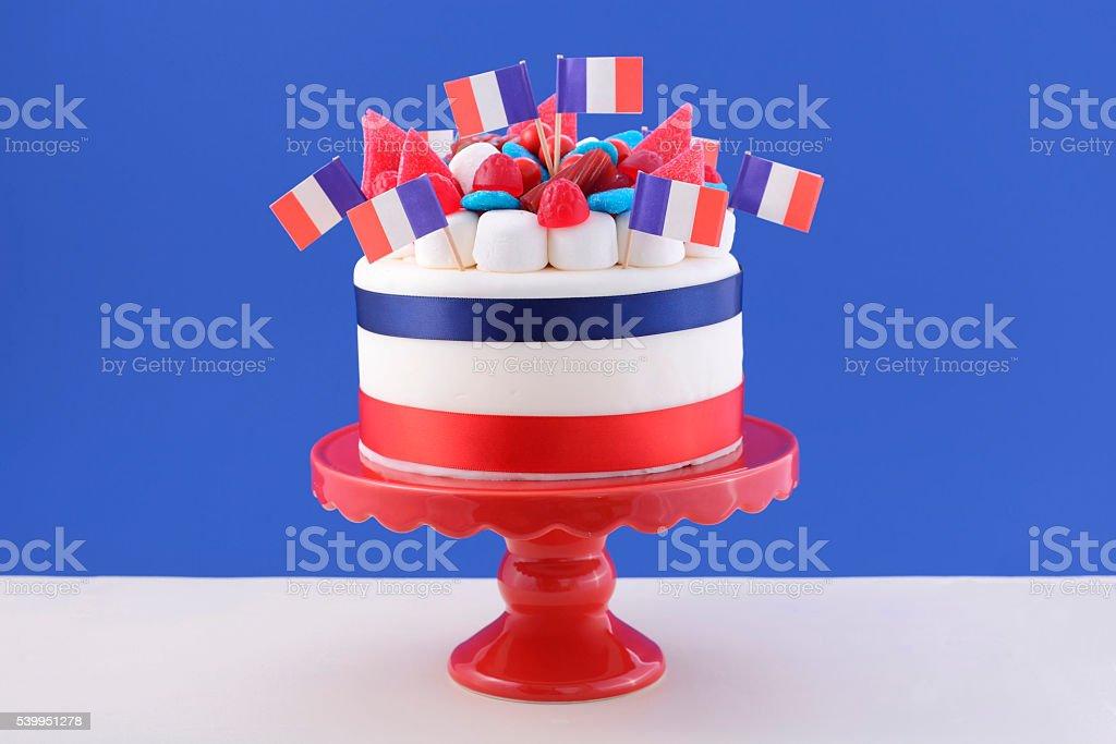 Happy Bastille Day celebration cake stock photo