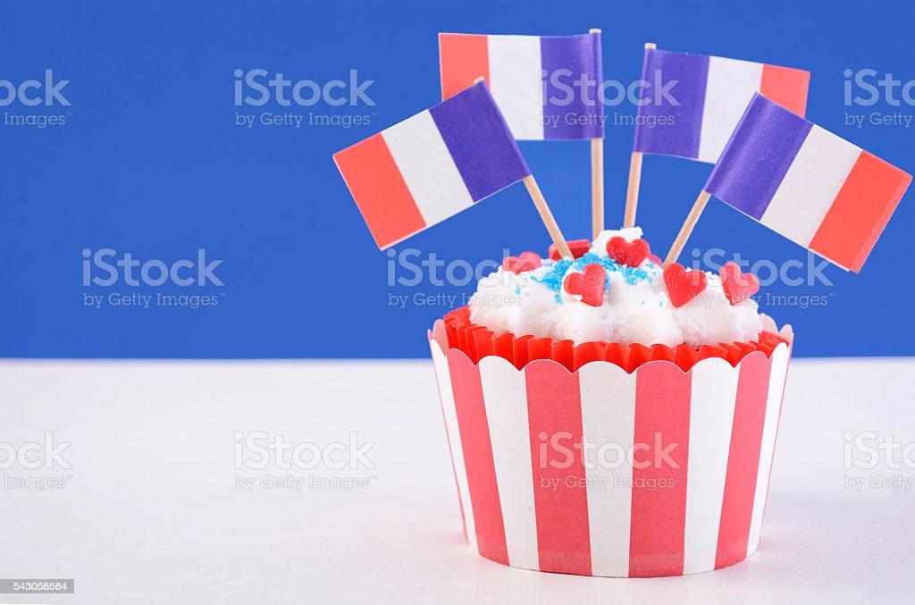 Happy Bastille Day cupcake. stock photo