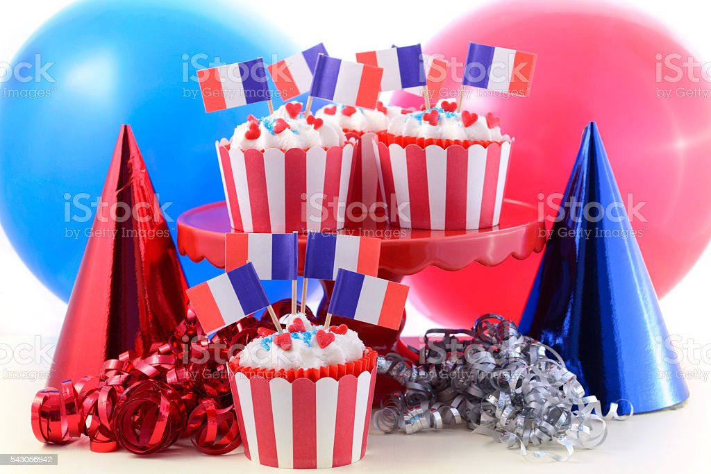 Happy Bastille Day cupcakes. stock photo