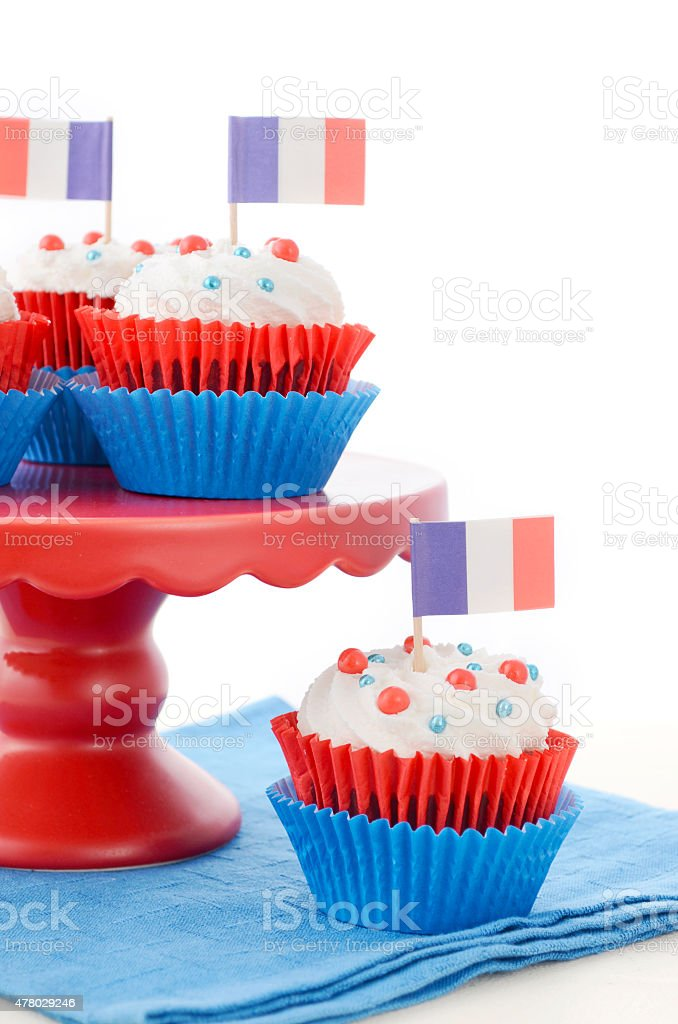 Happy Bastille Day Party Cupcakes stock photo