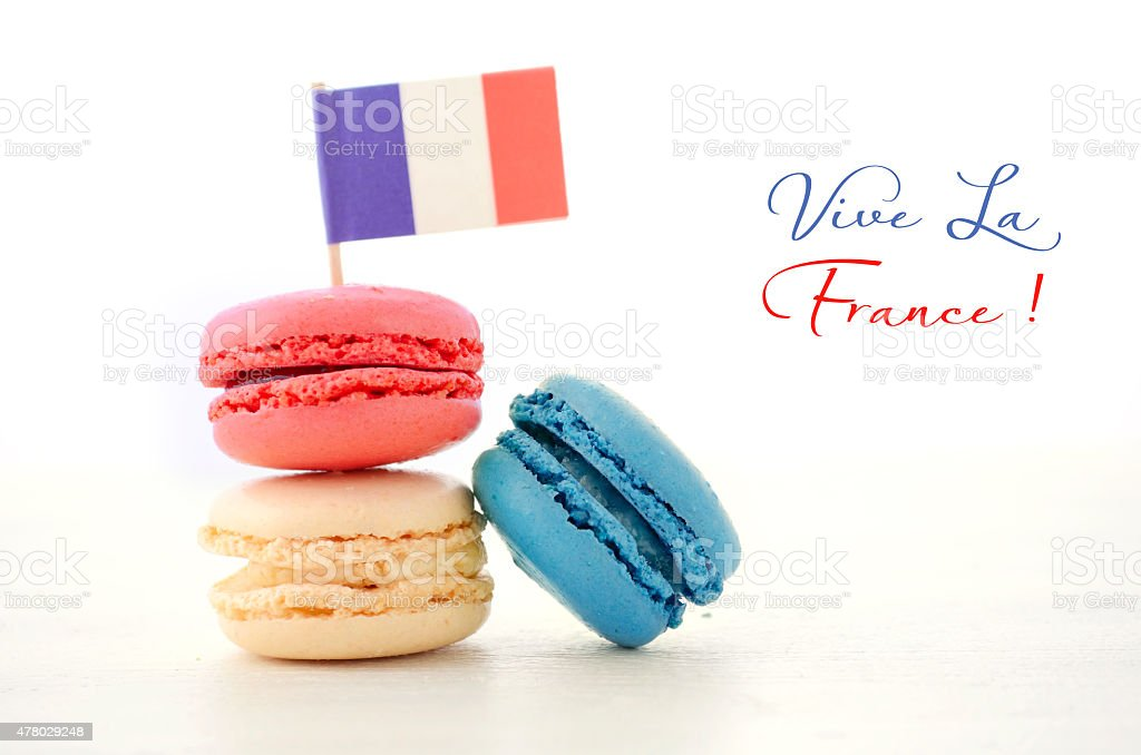 Happy Bastille Day Party Macarons stock photo
