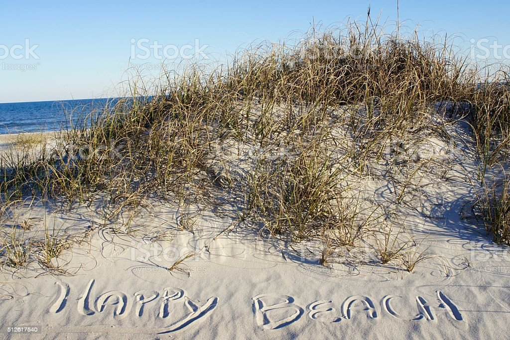 Happy Beach Written in Sand stock photo