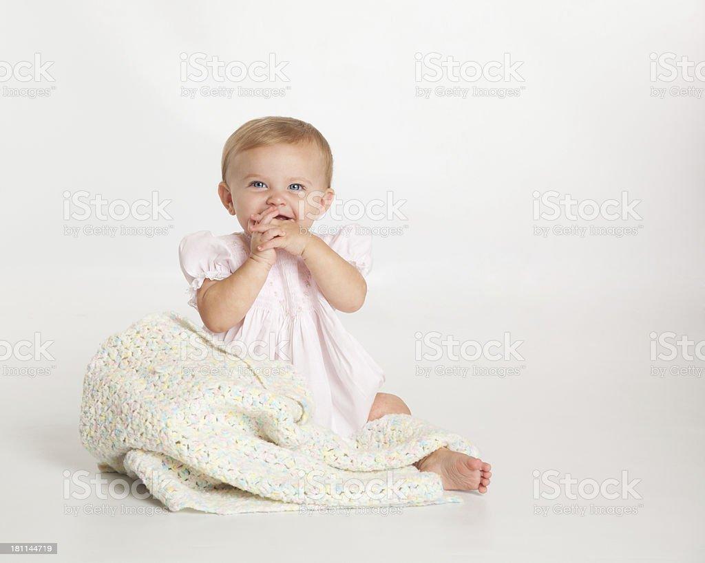 Happy Beautiful Blue Eyed Baby Girl royalty-free stock photo