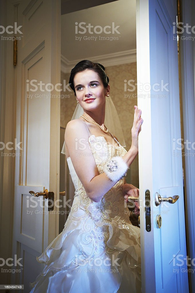 Happy beautiful bride in wedding dress royalty-free stock photo