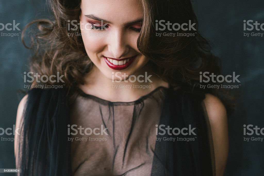 Happy beautiful brunette smiling stock photo