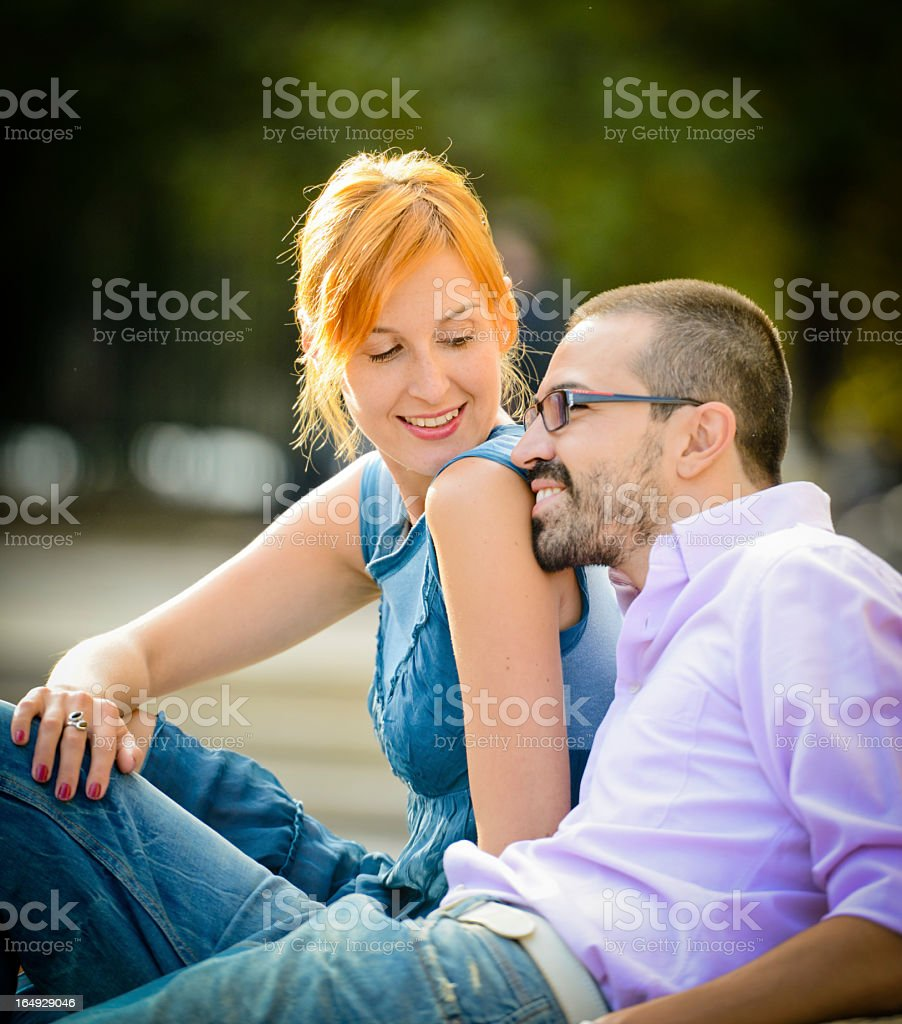 Happy Beautiful couple having fun in the park royalty-free stock photo