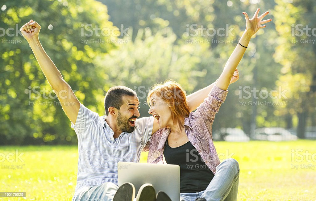 Happy Beautiful couple having fun outdoors stock photo