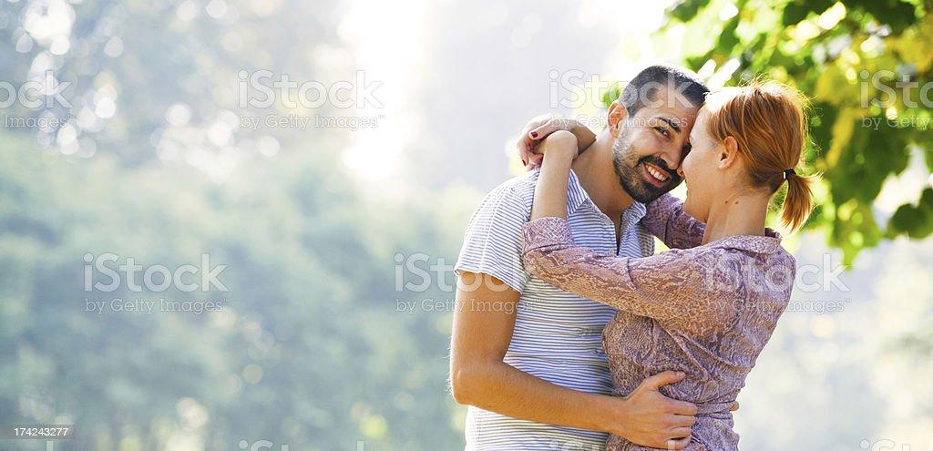 Happy Beautiful couple having fun outdoors royalty-free stock photo