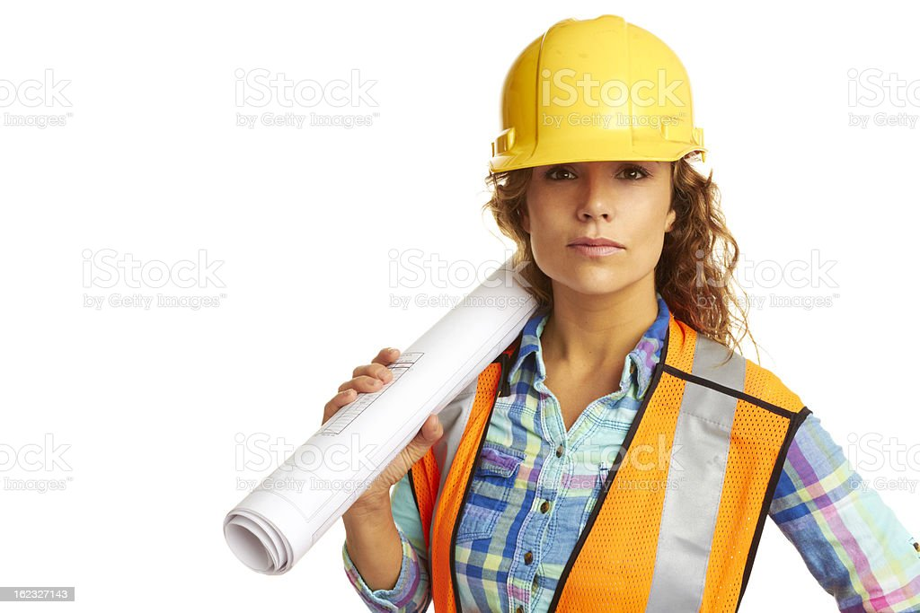 Happy beautiful female construction worker royalty-free stock photo