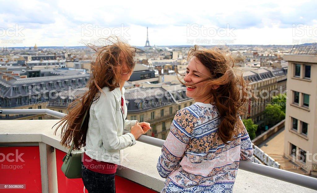 Happy beautiful girls in Paris stock photo