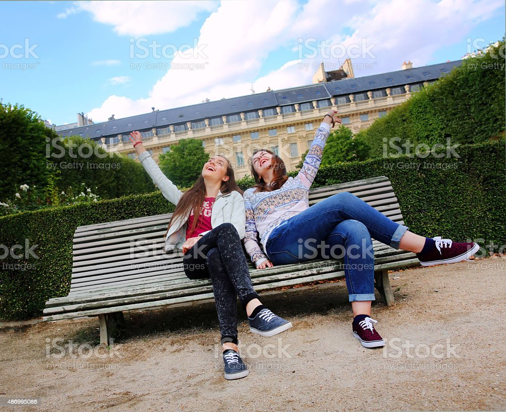 Happy beautiful student girls stock photo