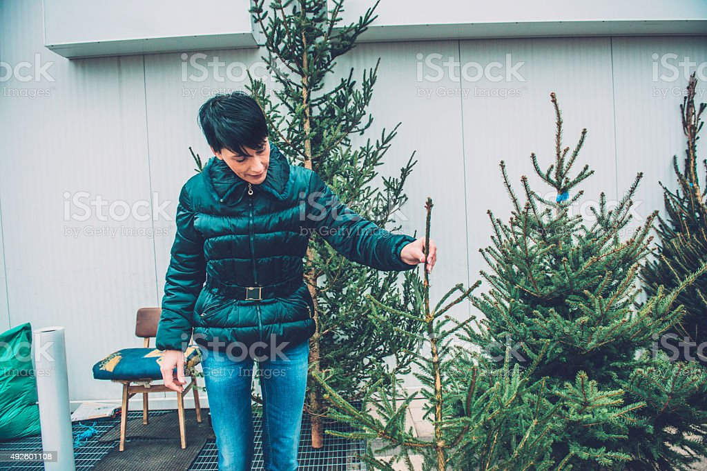 Happy Beautiful Woman Buying Christmas Tree, Europe stock photo