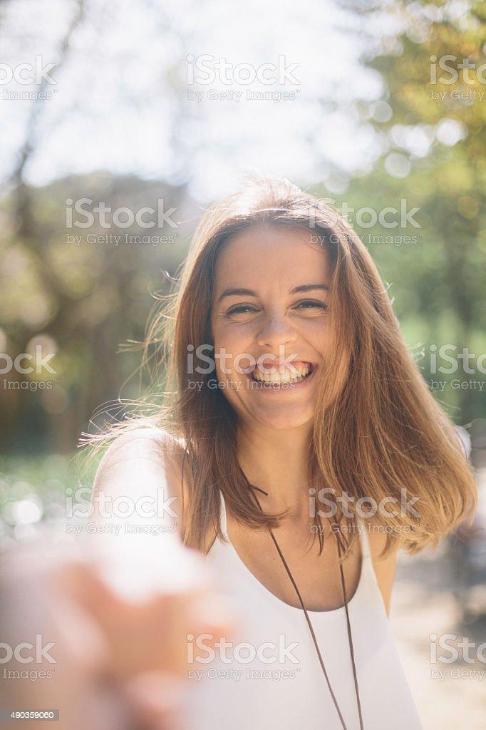 Happy beautiful woman having fun in Barcelona. stock photo