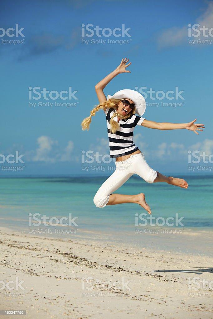 Happy beautiful woman on sea vacation royalty-free stock photo