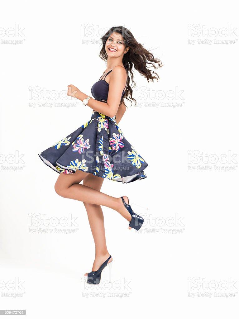 Happy beautiful woman stock photo