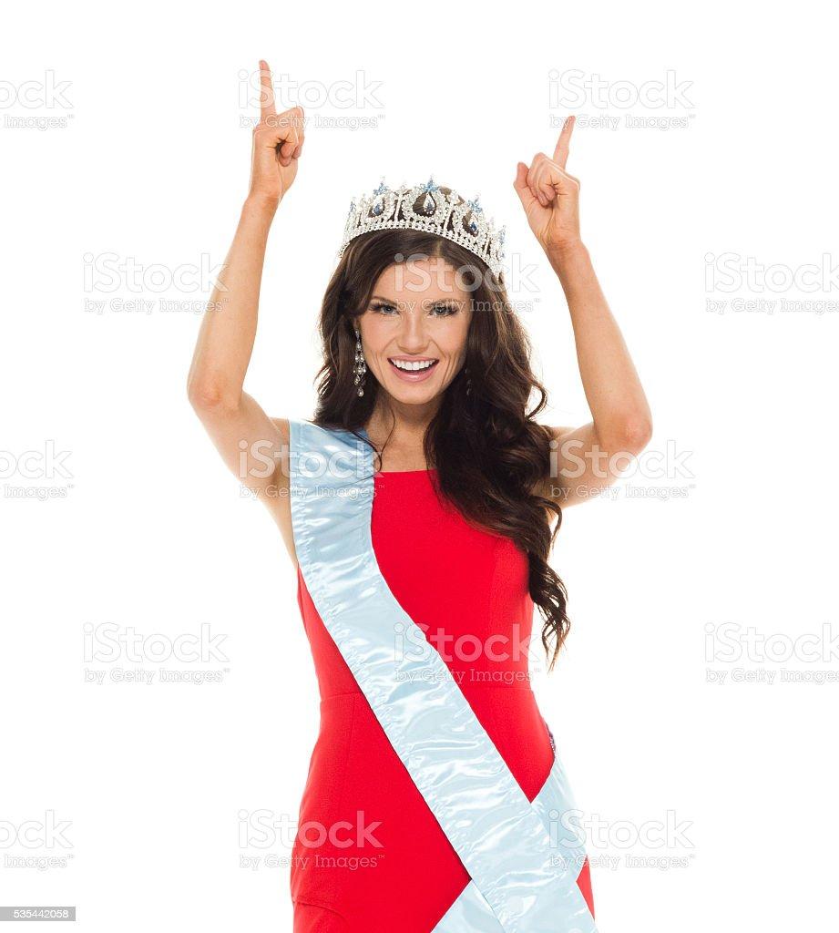 Happy beauty contestant stock photo